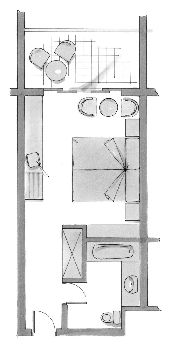 Wohnbeispiel Doppelzimmer Pool- oder Meerblick